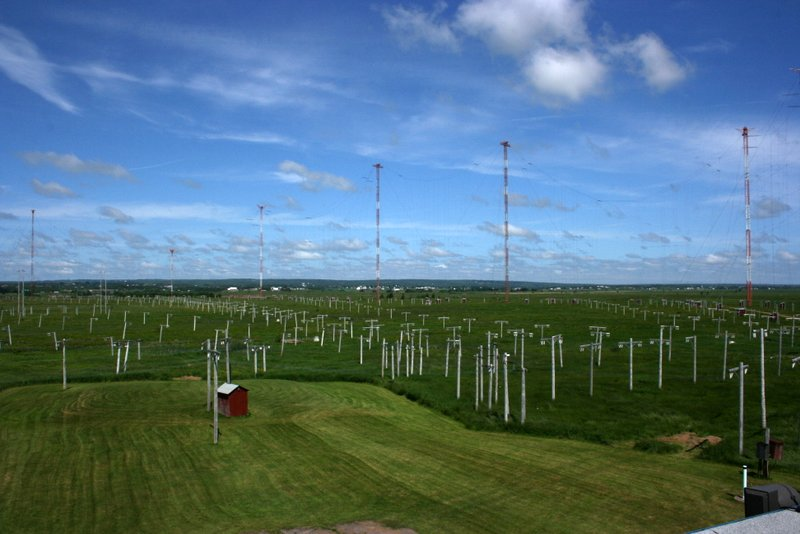View of the western cluster of curtain antennas from the roof of RCI Sackville's transmissions building. (Photo: The SWLing Post) --Click to enlarge