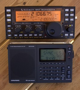 The Elecraft KX3 is built for travel and portability--here we compare its size with the Grundig G3
