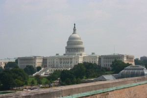 View of the Capitol Building from the roof of VOA
