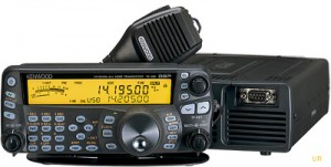 The Kenwood TS-480SAT is full-featured,  small, and has a detachable face plate.