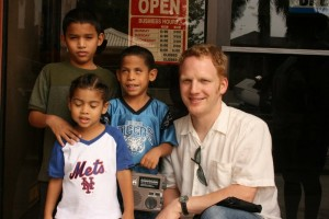 In this photo from Belize, I'm working with David (blue shirt), who is visually impaired--radio opens a world for him.