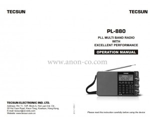Tecsun PL-880 Owners Manual