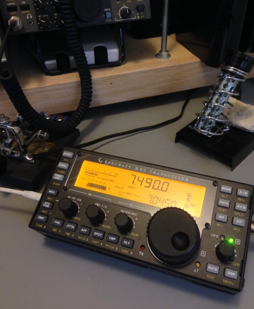 The Elecraft KX3 transceiver tuned to 7490 kHz