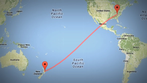The RNZI signal travels a full 8,249 miles (13,276 kilometers) to reach my home.