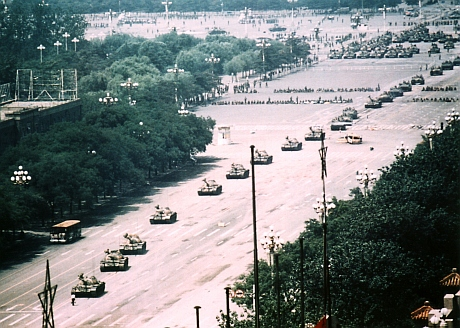"A long shot of the iconic ""Tank Man"" on Tiananmen Square. Photographer: Stuart Franklin"