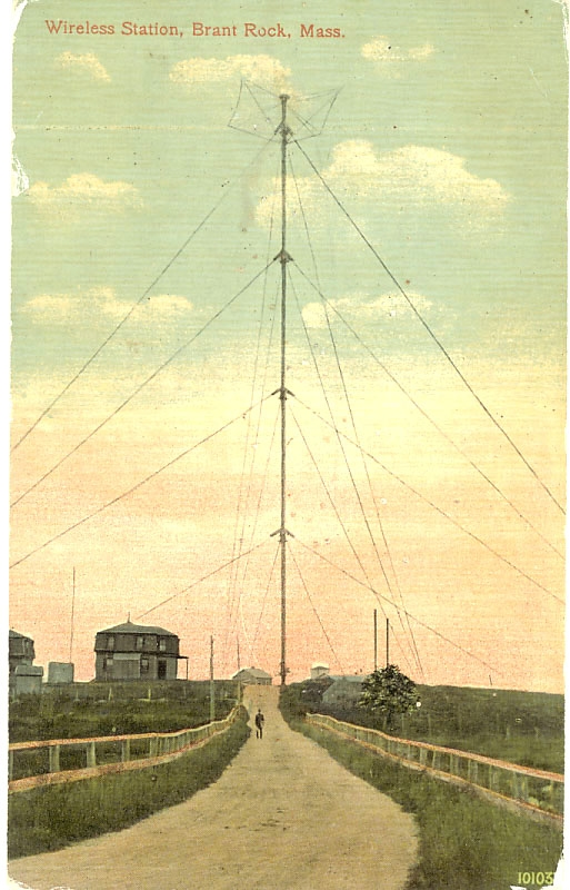 A postcard showing Fessenden's wireless antenna in 1906 at Brant Rock.