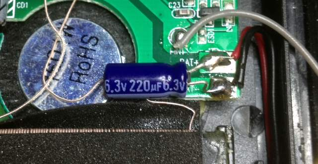 Close-up of added capacitor.