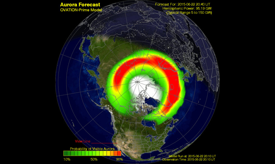 (Source: NASA) The geomagnetic storm began as forecasted and quickly ramped up to severe (G4)  levels.  In Europe watchers should be looking for the aurora now and there is hope for those over the US tonight.