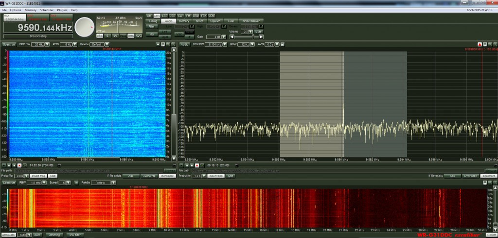 Screen capture of the WinRadio Excalibur