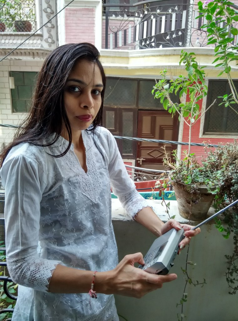 Manisha's favorite listening post is her balcony in New Dehli where she listens with her Sony portable.
