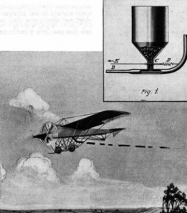 A French communication system for use by airplane pilots in 1915: black powder could be puffed out into a Morse code message. Image: Scientific American, September 25, 1915
