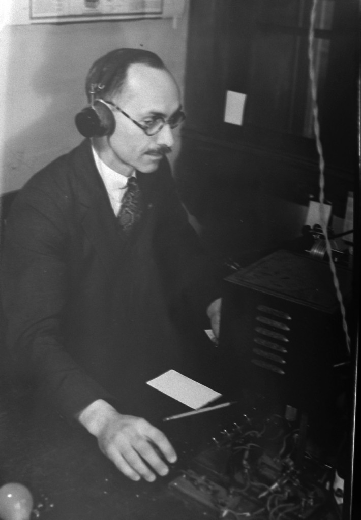 Harold Burtt, (Chairman of the Psychology Dept Ohio State) with his attic gear approximately 1935