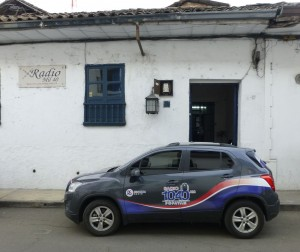 Radio Mil Cuarenta's studio in Popayan, Colombia. (studio with station's car in front)