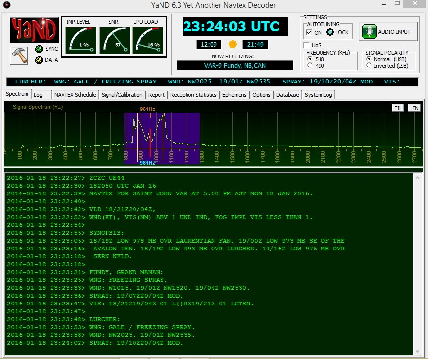 "NAVTEX on 518 KHz from station VAR-9, New Brunswick, CAN. Messages begin with ""ZCZC."""
