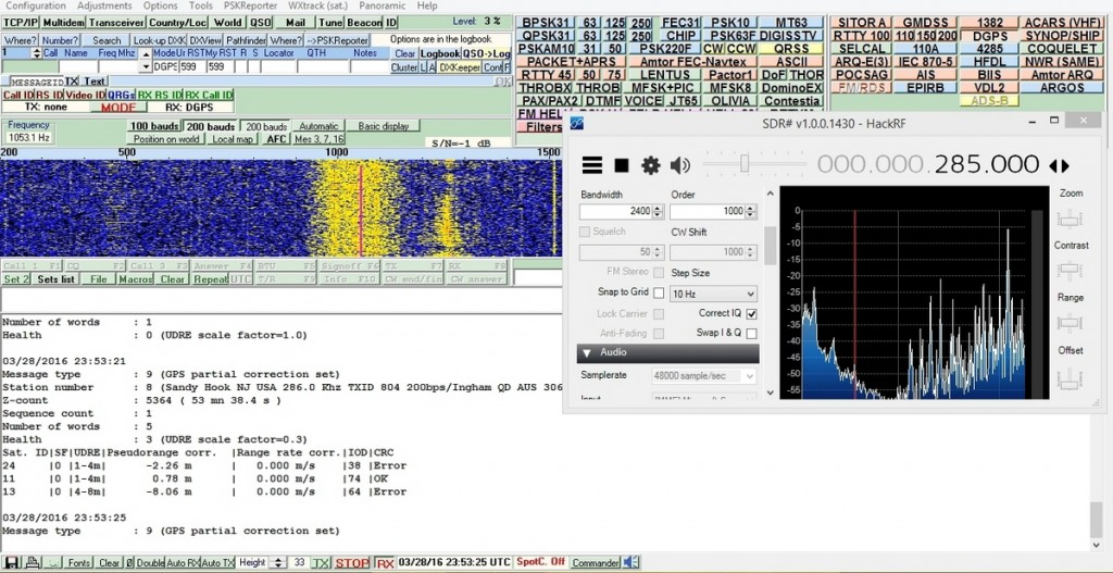 DGPS beacon from Sandy Hook, NJ. SDR# using HackRF One in foreground, MultiPSK software in background with decoded information.