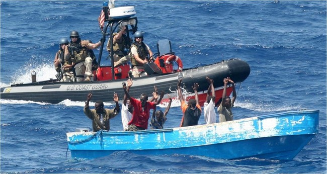 Suspected pirates surrender to crew members of the CGC Boutwell. (U.S. Coast Guard photo)