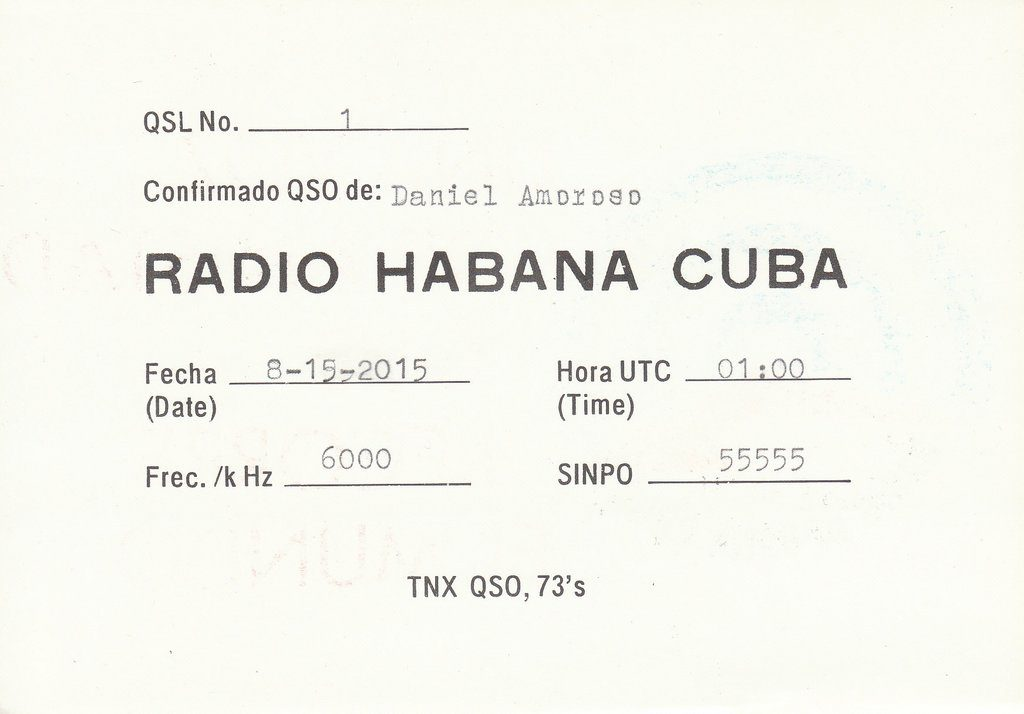 Back of RHC QSL card (click to enlarge).