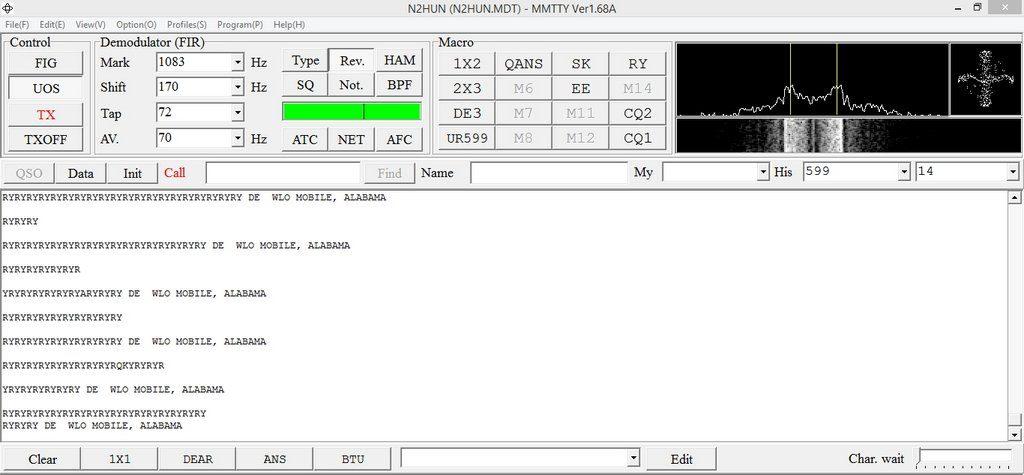 "WLO, Mobile AL, with RYRY idling loop, MMTTY decoder, 45.45 bauds, 170Hz shift, ""Rev."""