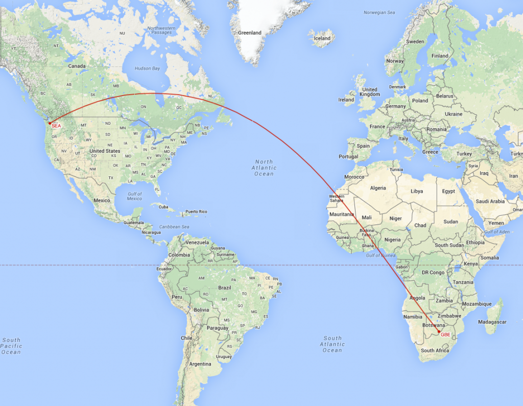 Great Circle route from the Gaborone transmitter to Seattle receiver location.