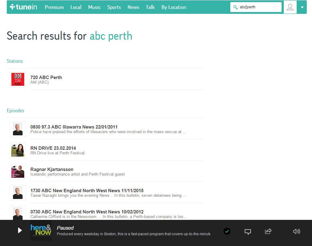 The TuneIn search screen.