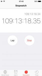 My iPhone's stopwatch has been tracking the endurance test.