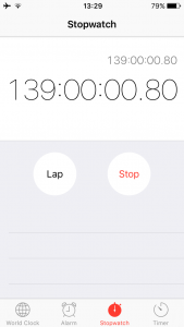 My iPhone's stopwatch has been tracking progress since last Wednesday.