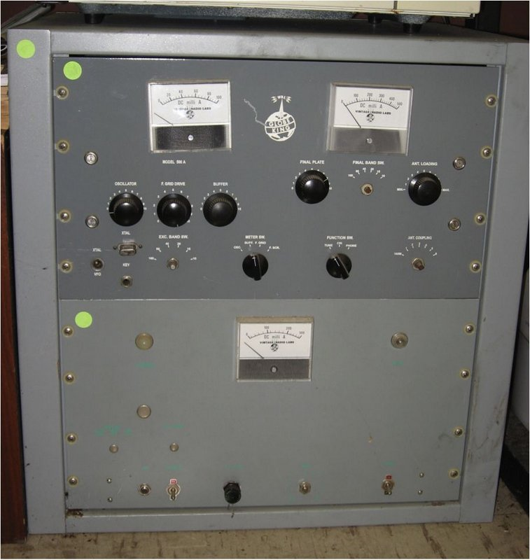 "Figure 7. A Vintage Radio Labs ""Globe King 500A"" backup transmitter (SN1?). The crystal is for the old frequency of 7355 kHz"