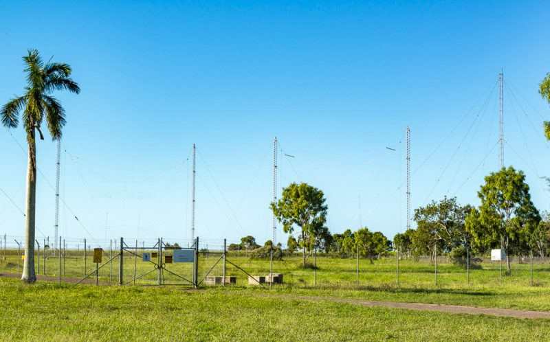 Two shortwave antennas a  backup antenna at the Brandon RA transmitter site. (Image: Mount Evelyn DX Report)