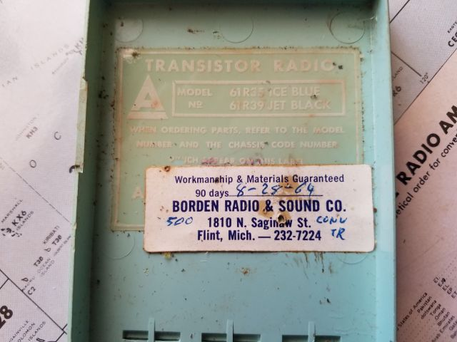 Arvin Transistor Radio Repair Tag