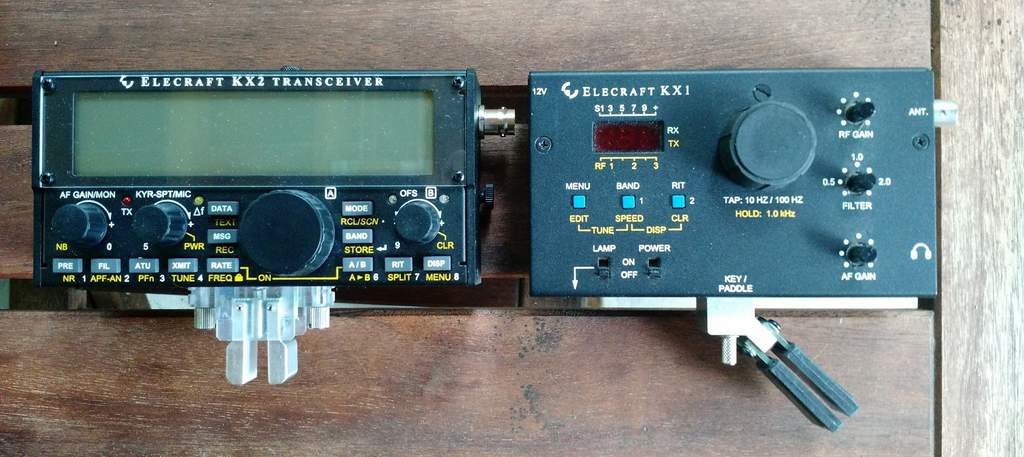 The Elecraft KX2 (left) and KX1 (right)