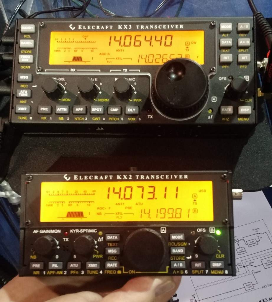 Comparing the size of the Elecraft KX3 (top) and KX2 (bottom) at Elecraft's Dayton Hamvention booth.