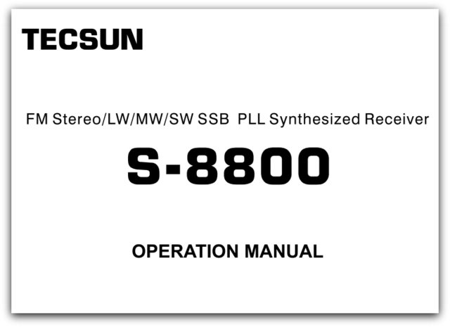Tecsun S8800 English Operation Manual – Operation Manual