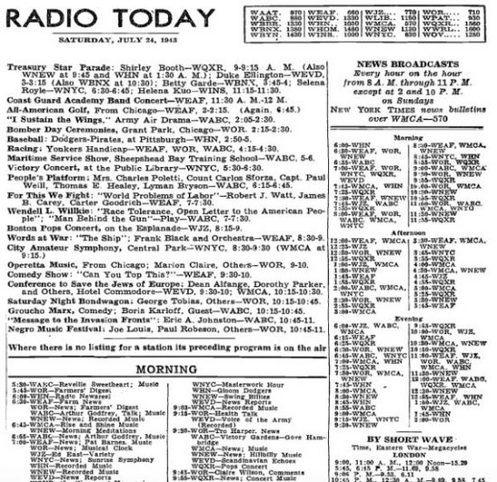 Archived radio listings from four major US newspapers ...